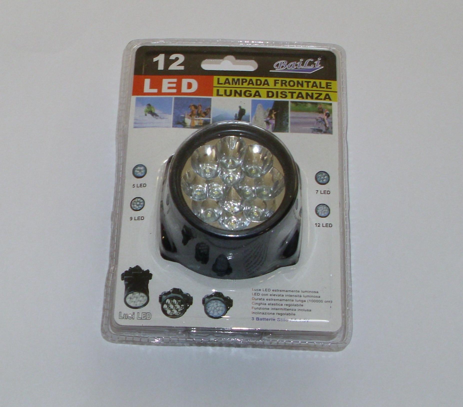 Lampada frontale regolabile con 12 led a lunga distanza for Lampada led lunga